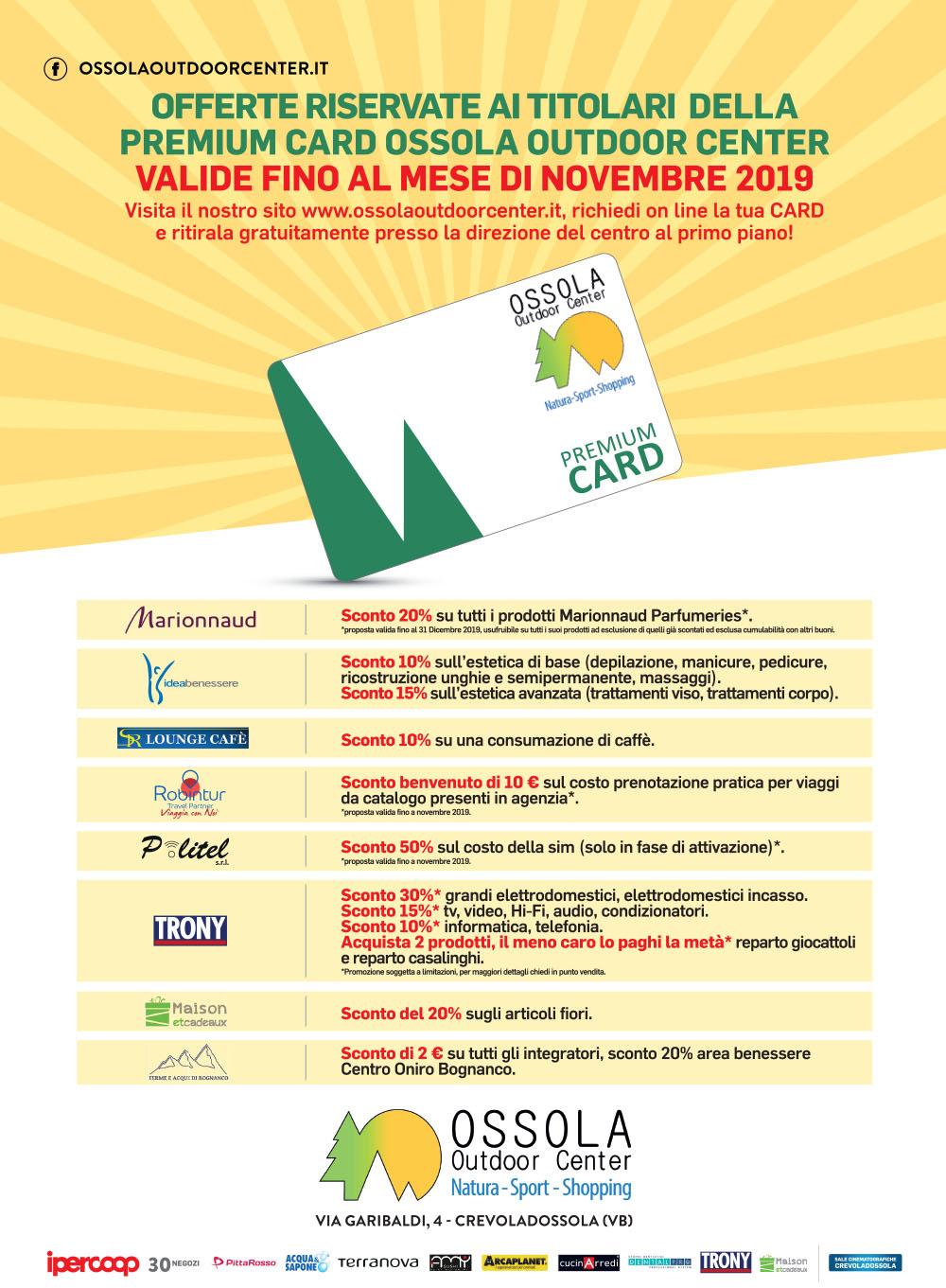 Premium Card Ossola Outdoor Center Offerte Valide Fino Al